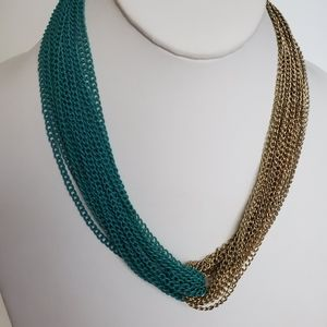 Gold Green Chain cluster Statement Necklace